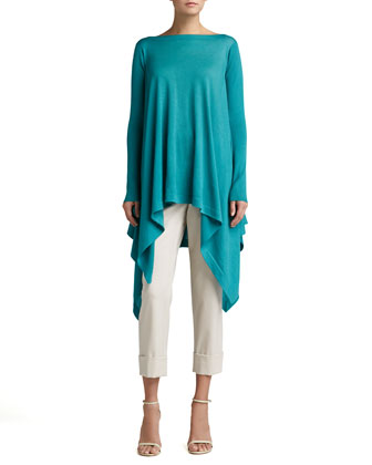 Bateau-Neck Knit Tunic & Stretch Wool Slim Crop Pants