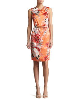 St. John Collection Stretch Silk Sleeveless Shift Dress & Thin Leather Hip Belt