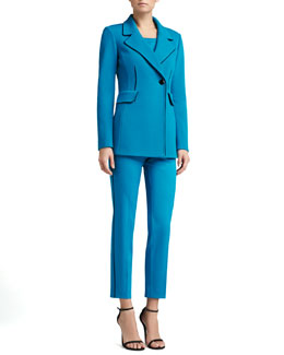 St. John Collection Double Milano Knit Blazer, Milano Knit Contour Tank & Stretch Venetian Wool Pants