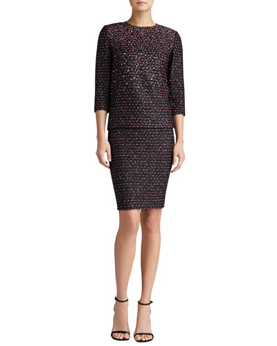 St. John Collection Multi-Texture Knit Top & Pencil Skirt