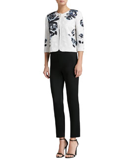 St. John Collection Rose-Print Knit Jacket with 3/4 Sleeves, Rose-Print Knit Shell & Liquid Satin Cropped Pants