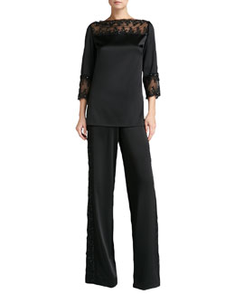 St. John Collection Satin Bateau-Neck Tunic & Satin Wide-Leg Pants
