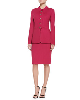 St. John Collection 5-Button Peplum Jacket, Short-Sleeve Knit Tee & Pencil Skirt
