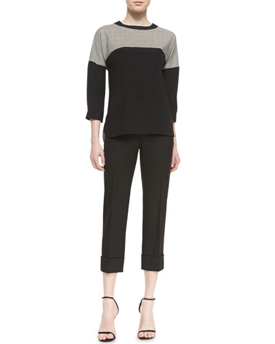 St. John Collection Crew Neck Blouse & Cropped Trousers with Cuff