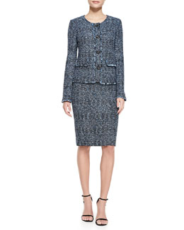 St. John Collection Metallic Tweed Jacket, Scoop-Neck Satin Tank & Tweed Pencil Skirt