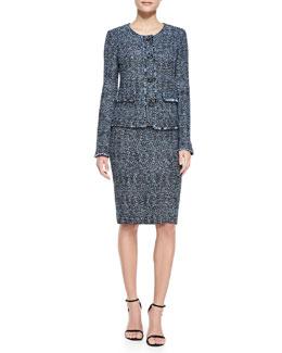 St. John Collection Metallic Tweed Jacket, Scoop-Neck Satin Tank & Tweed Pencil Skirt