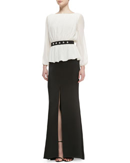 St. John Collection Sheer Long-Sleeve Blouse, Long Skirt with Front Slit & Studded Waist Belt