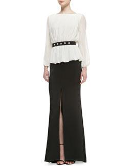 St. John Collection Sheer Long-Sleeve Blouse, Long Skirt with Front Slit & Studded Waist Belt