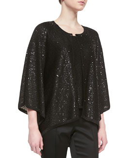 St. John Collection Loose-Fit Button-Up Cardigan & Sleeveless Scoop-Neck Tank with Sequins