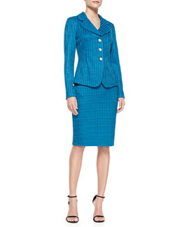 St. John Collection 3-Button Woven Blazer, Sleeveless Satin V-Neck Tank & Pencil Skirt