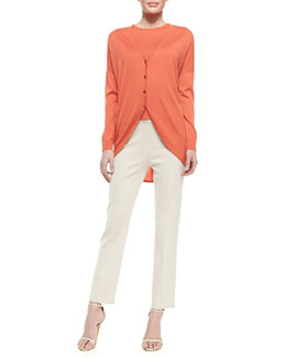 St. John Collection Button-Up Cardigan, Short-Sleeve Crewneck Top & Cropped Trousers