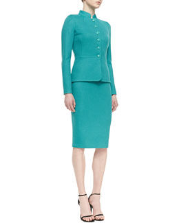 St. John Collection 5-Button Peplum Jacket, Sleeveless Crewneck Blouse & Pencil Skirt