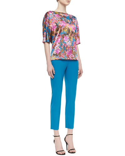 St. John Collection 3/4-Sleeve Floral Blouse & Cropped Trousers