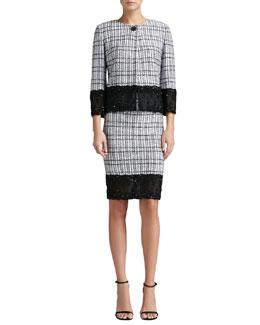 St. John Collection Mini Plaid Knit Jacket, Pencil Skirt & Liquid Satin Tank