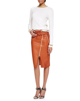 Jason Wu Long-Sleeve Cashmere Knit Pullover Sweater & Moto Leather Pencil Skirt