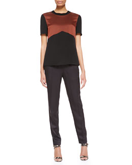 Jason Wu Short-Sleeve Rib-Trim Shirt & Drawstring Slim Jogging Pants