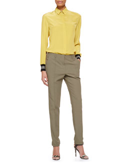 Jason Wu Long-Sleeve Ribbed-Cuff Silk Blouse & Cotton-Blend Twill Pants