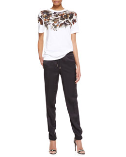 Jason Wu Short-Sleeve Floral-Print T-Shirt & Drawstring Slim Jogging Pants