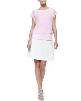 T Tahari Nia Short-Sleeve Double-Layer Hem Blouse & Caroline A-Line Skirt