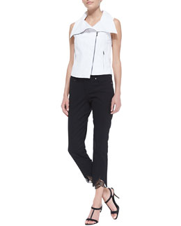 T Tahari Collette Asymmetric Zip Vest & Talisa Cropped Jeans with Leaf Cuffs
