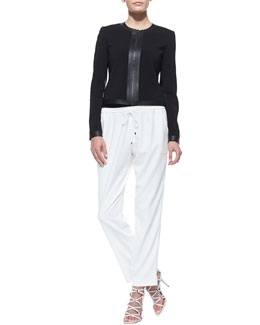 T Tahari Ruby Classic Zip-Front Jacket & Loren Easy Drawstring Pants