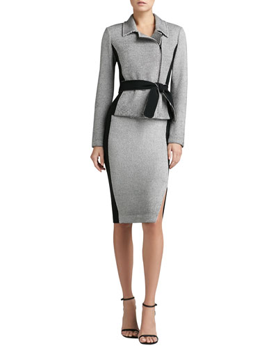 St. John Collection Belted Tweed Knit Jacket, Skirt & Rib Knit Fine Gauge Scoop-Neck Sleeveless Shell