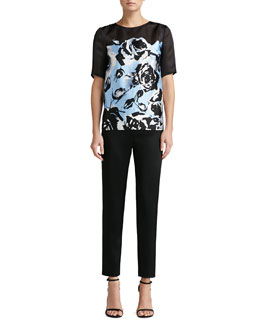 St. John Collection Satin Jewel-Neck Blouse & Liquid Satin Cropped Pants