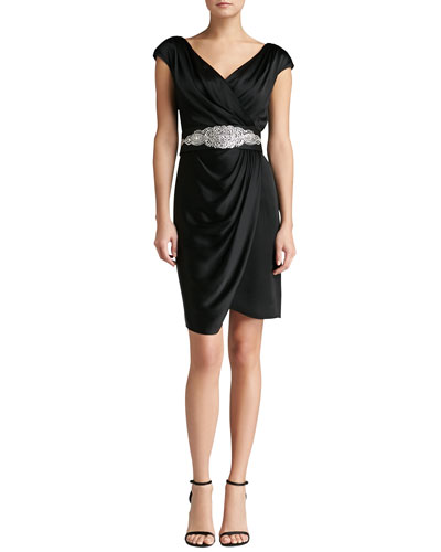 St. John Collection Faux-Wrap Crepe Drape Dress & Hand-Beaded Duchesse Belt