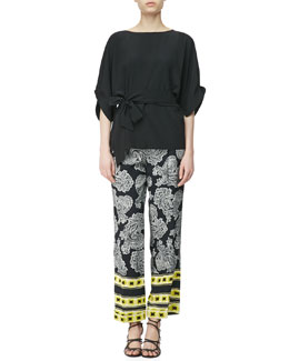 Etro Crepe de Chine Puff-Sleeve Blouse & Stripe-Border Paisley Pants