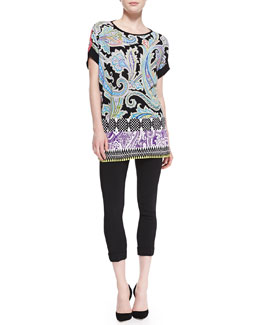 Etro Mixed-Print Short-Sleeve Poncho & Solid Cuffed Cady Cigarette Pants
