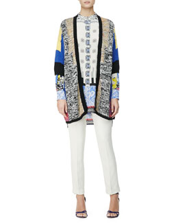 Etro 3/4-Sleeve Melange Colorblock Cardigan, Button-Down Deco Dot/Floral Tunic & Cady Cuffed Cigarette Trousers