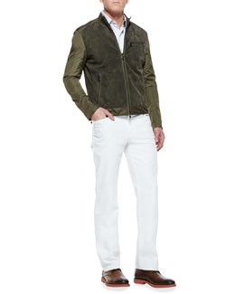 MICHAEL KORS  Leather/Nylon Jacket & Stretch Calvary Jeans