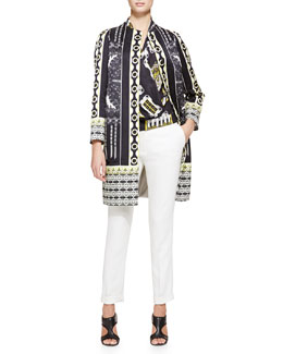 Etro Deco Dot Cloque Car Coat, Deco Domino Georgette Blouse & Cady Cuffed Cigarette Trousers