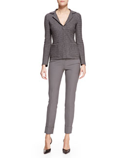 Armani Collezioni Chevron-Knit Snap-Front Blazer & Tech-Cotton Slim-Leg Pants