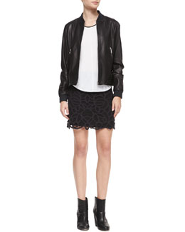 Rag & Bone Leather Skid Pan Jacket, Rose Scoop-Neck Tee & Nancy Jersey Lace-Overlay Skirt