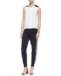 Rag & Bone Sleeveless High-Low Flowy Top & Sammi Side-Stripe Knit Pants