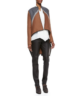 Derek Lam Tricolor Zip Cape Jacket, Sleeveless Tie-Front Blouse & Zip-Front Leather Leggings