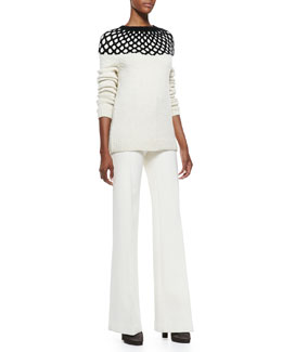 Derek Lam Long-Sleeve Net-Top Knit Sweater and Flare-Leg Long Trousers