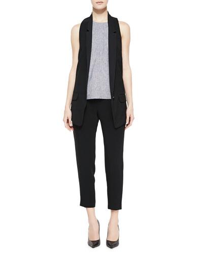 Rag & Bone Ines Racerback Suiting Vest, Adeline Patterned Sleeveless Top & Park Cropped Tapered Crepe Pants