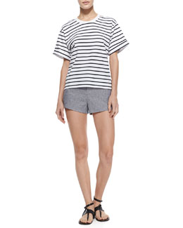 Rag & Bone Perforated Contrast-Trim Sweatshirt & Nesi Side-Stripe Shorts