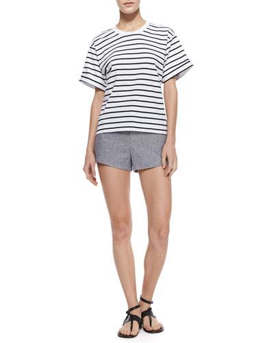 Rag & Bone Perforated Contrast-Trim Sweatshirt & Nesi Side-Stripe Shorts