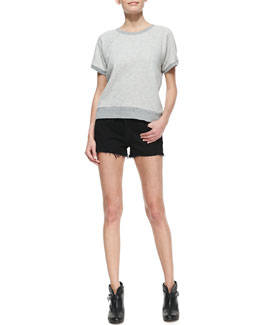 rag & bone/JEAN Rocky Short-Sleeve Knit Sweatshirt and Denim Cutoff Shorts