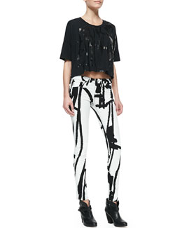 rag & bone/JEAN Noah Tape-Pattern Cropped Tee and The Legging Jeans, White Robot