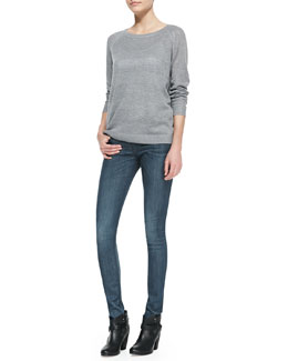 rag & bone/JEAN Bobbi Boat-Neck Pullover & The Skinny Pinner Faded-Knee Jeans