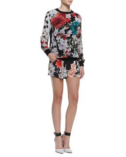 Roberto Cavalli Silk Floral-Print Long-Sleeve Top & Sash-Tie Shorts