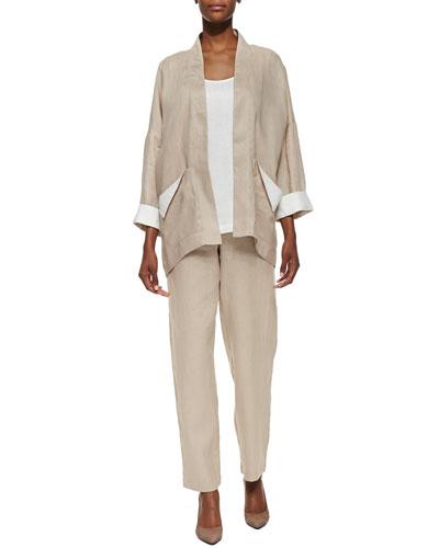 Go Silk Dropped-Shoulder Linen Jacket, Linen Scoop-Neck Tank & Unlined Straight-Leg Linen Pants