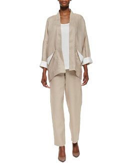 Go Silk Dropped-Shoulder Linen Jacket, Linen Scoop-Neck Tank & Unlined Straight-Leg Linen Pants, Women's