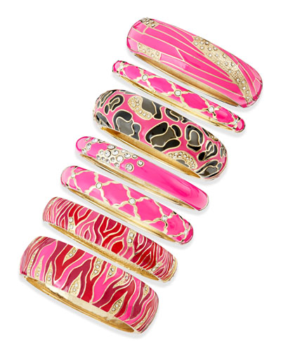 Sequin Assorted Pink Enamel Bangles