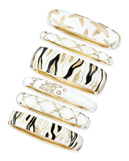 Sequin Assorted White Enamel Bangles