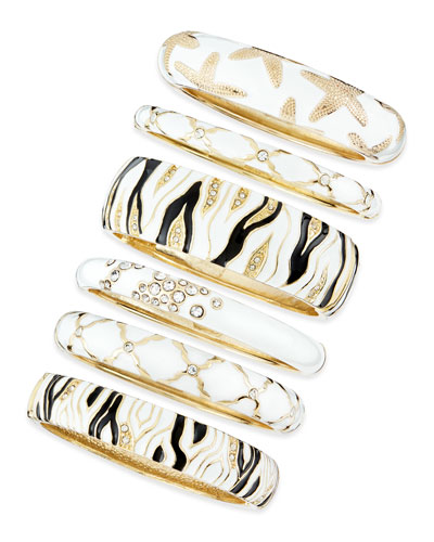 Assorted White Enamel Bangles